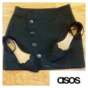Button Down Asymmetrical Skirt- ASOS EUC